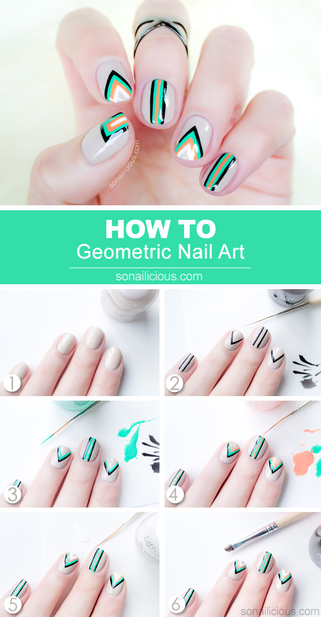 Edgy Geometric Nail Art - Tutorial