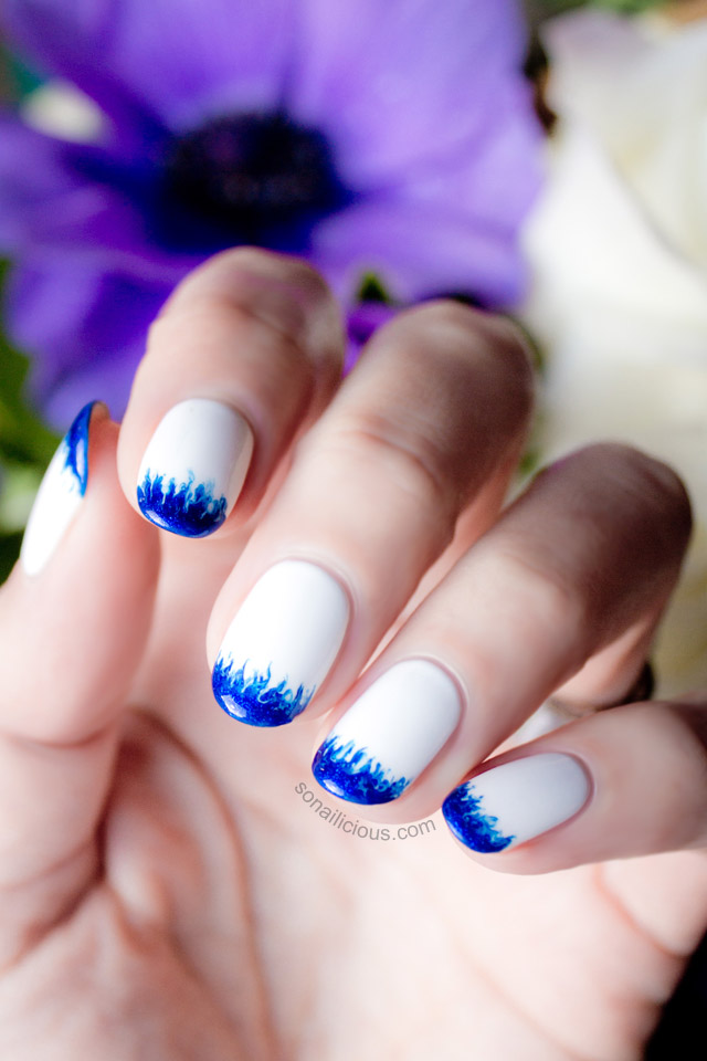 white and blue wedding nails