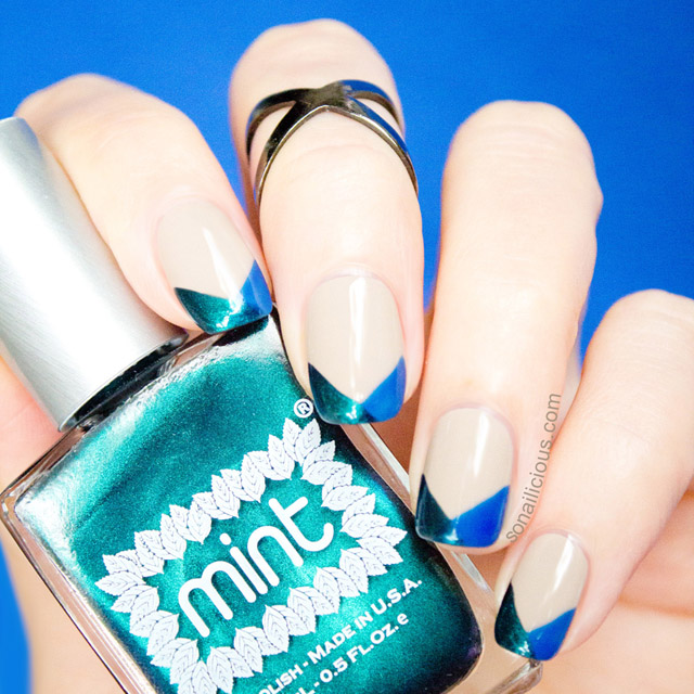 French Chevron Nails with Mint Polish Czarina