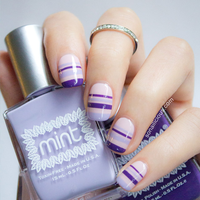 Spring Nail Art with striping tape - Spring Nail Art With Striping Tape - SoNailicious