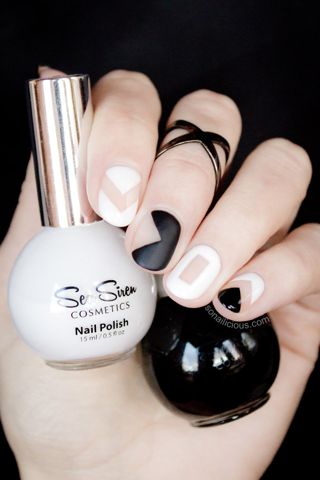 black and white negative space nail art tutorial