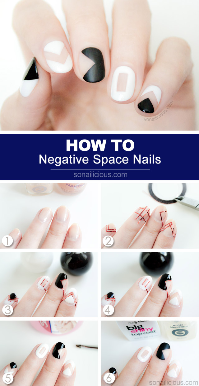 Negative E Nail Art Tutorial