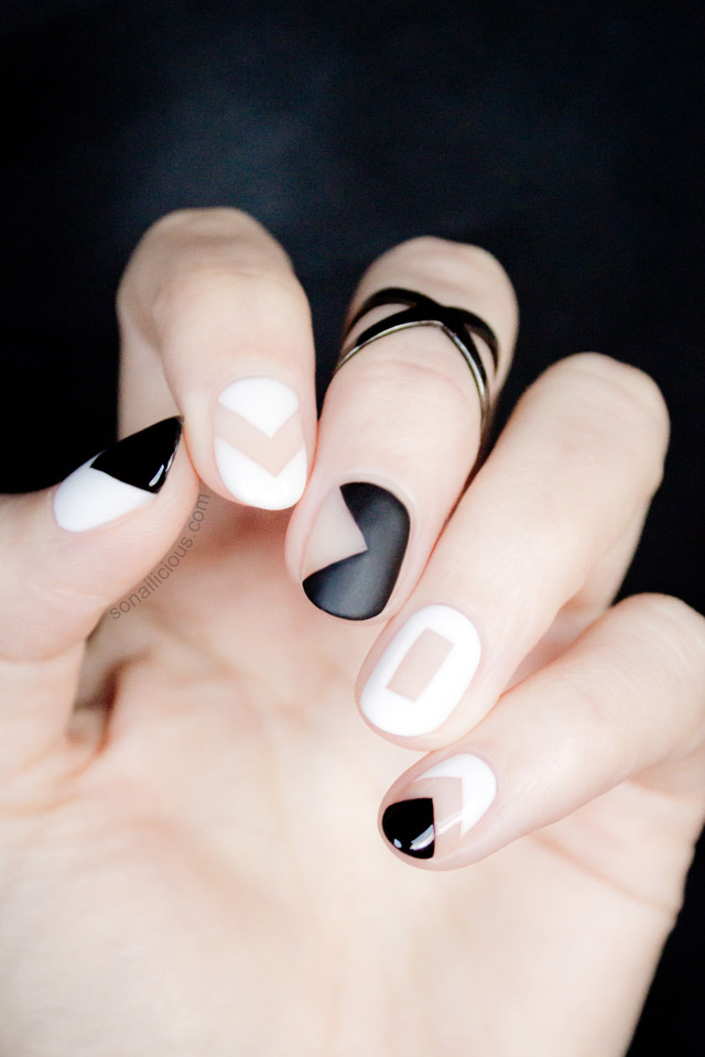 Black and White Negative Space Nails - Tutorial