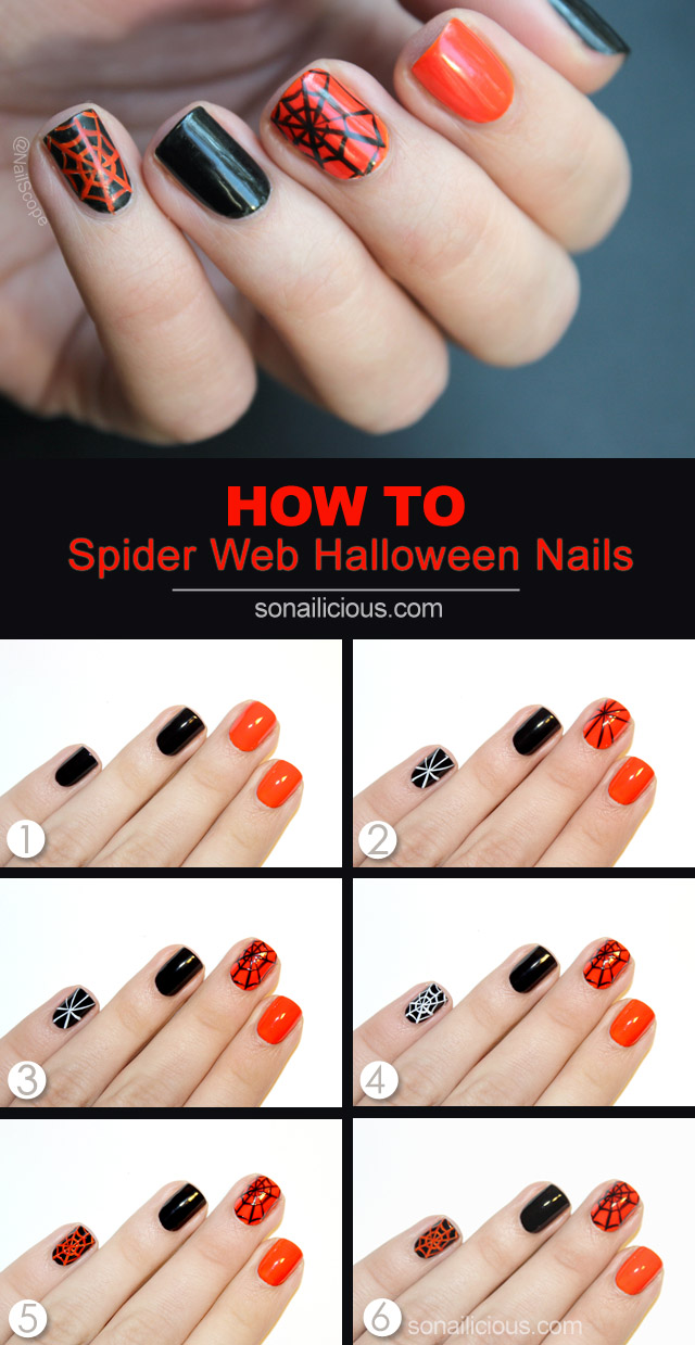 spider web nail art tutorial - Tutorial: Halloween Spider Web Nail Art