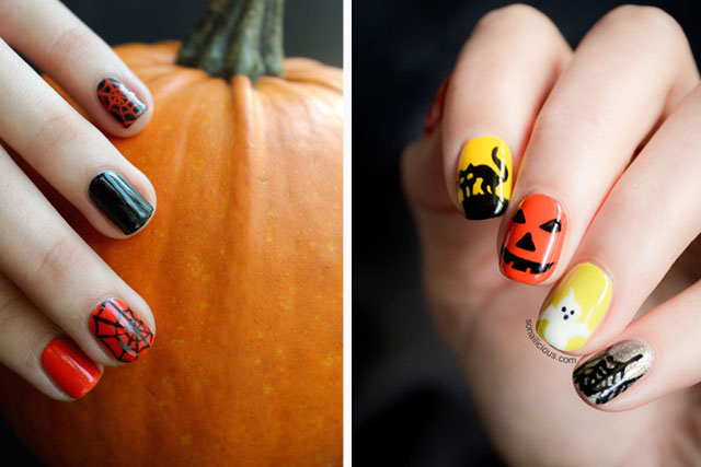 6 SoNailicious Halloween Nail Designs with Tutorials - Black And Orange Archives - SoNailicious