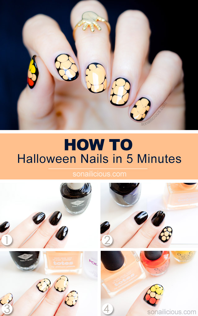 easy Halloween nails how to