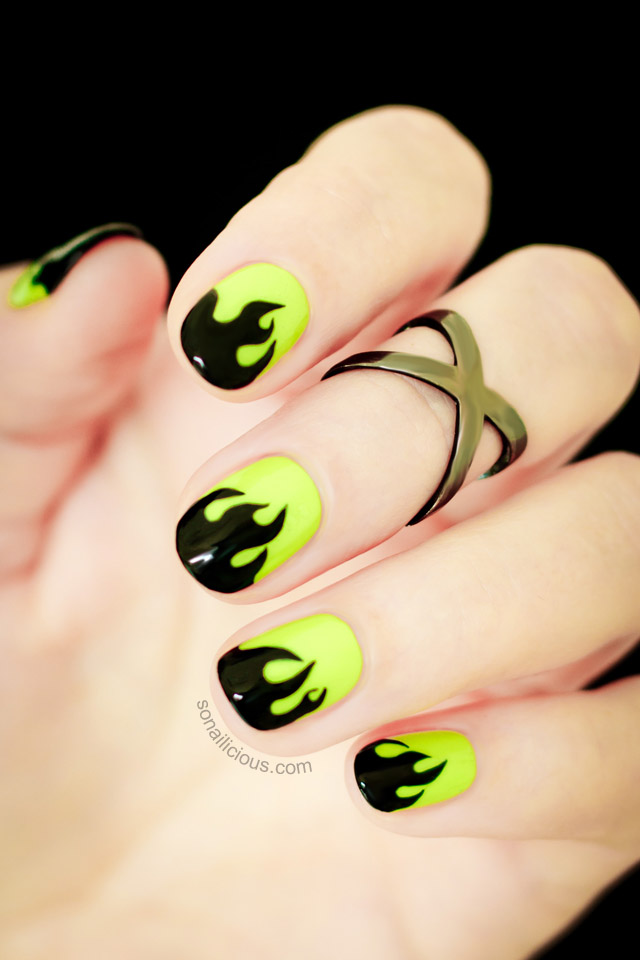 mystical flame halloween nails