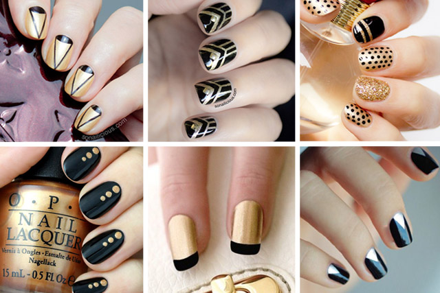 - 10 Party Perfect Black And Gold Nail Designs