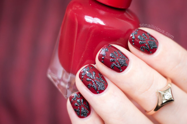 Red And Black Baroque Nails Sally Hansen Miracle Gel Dig Fig