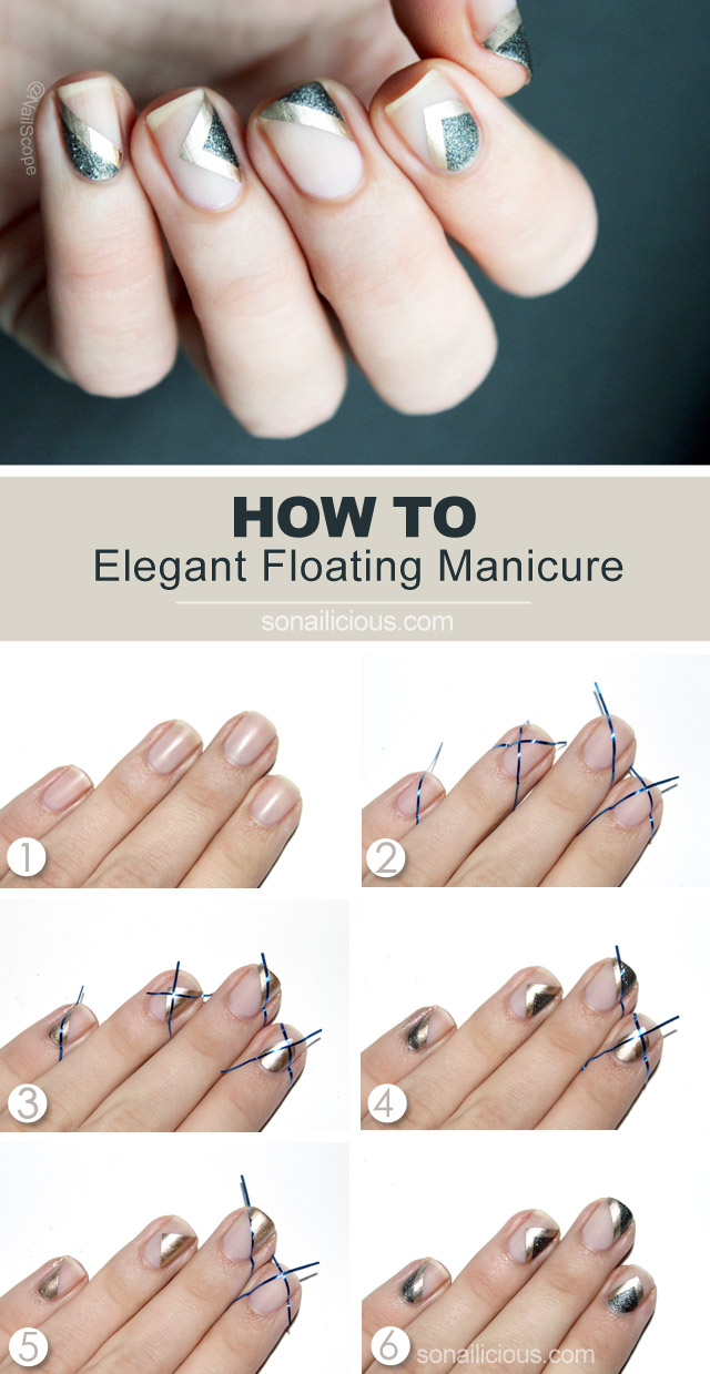 Floating negative space manicure tutorial