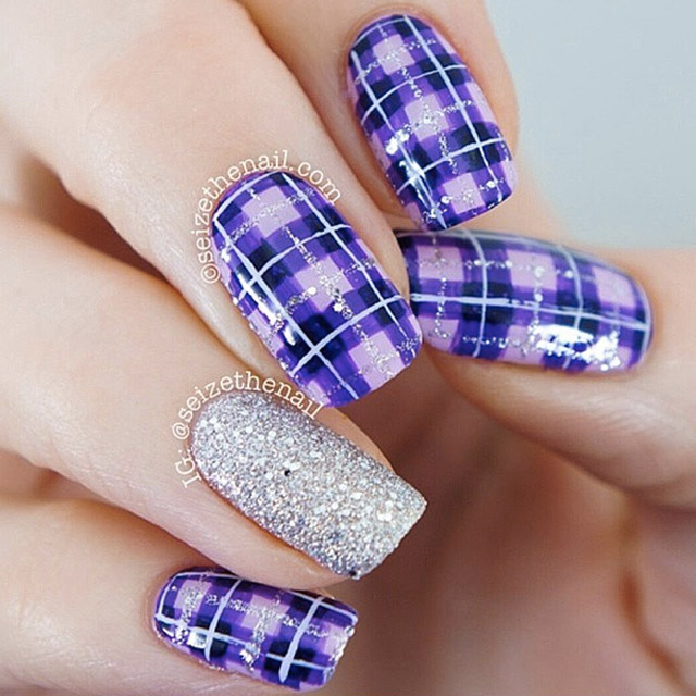 Purple Plaid nail art - SoNailicious