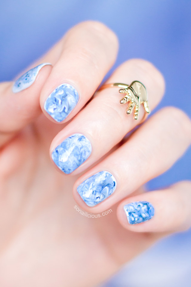 Foil Drag Marble Nail Art How To