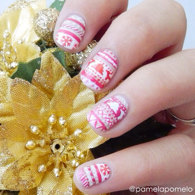 Christmas Sweater Nail Art by @pamelapomelo