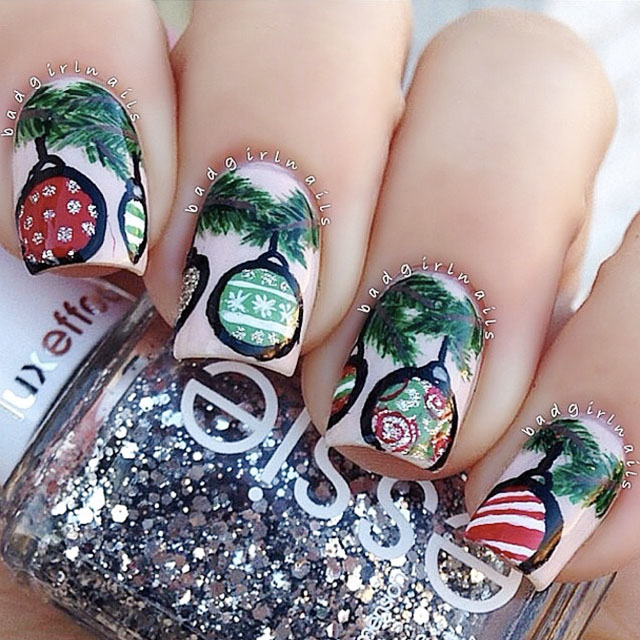 Christmas ornament nail art by @BadGirlNails