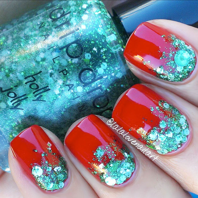 Glitter Gradient Christmas Nails by @Lalalovenailart