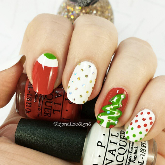 Polka Dot Christmas nail art by @kjpnaildesigns