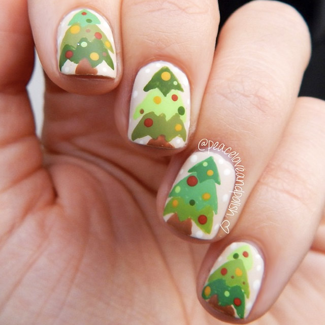 Rustic Christmas trees nail art by @peaceloveandpolish