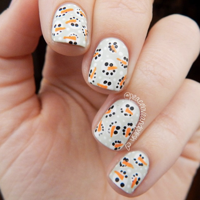 Snowmen Noggins by @peaceloveandpolish