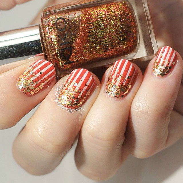 Stripey Christmas nail art by @OwlsAndNails