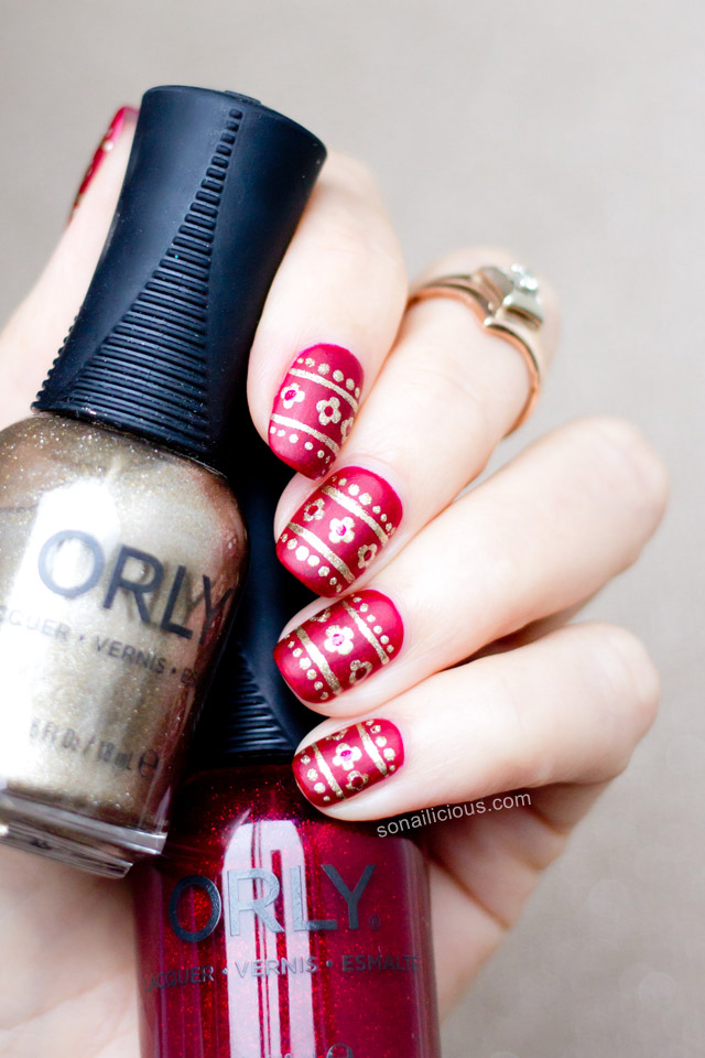 Delicate Red and Gold Christmas Nails + How-To