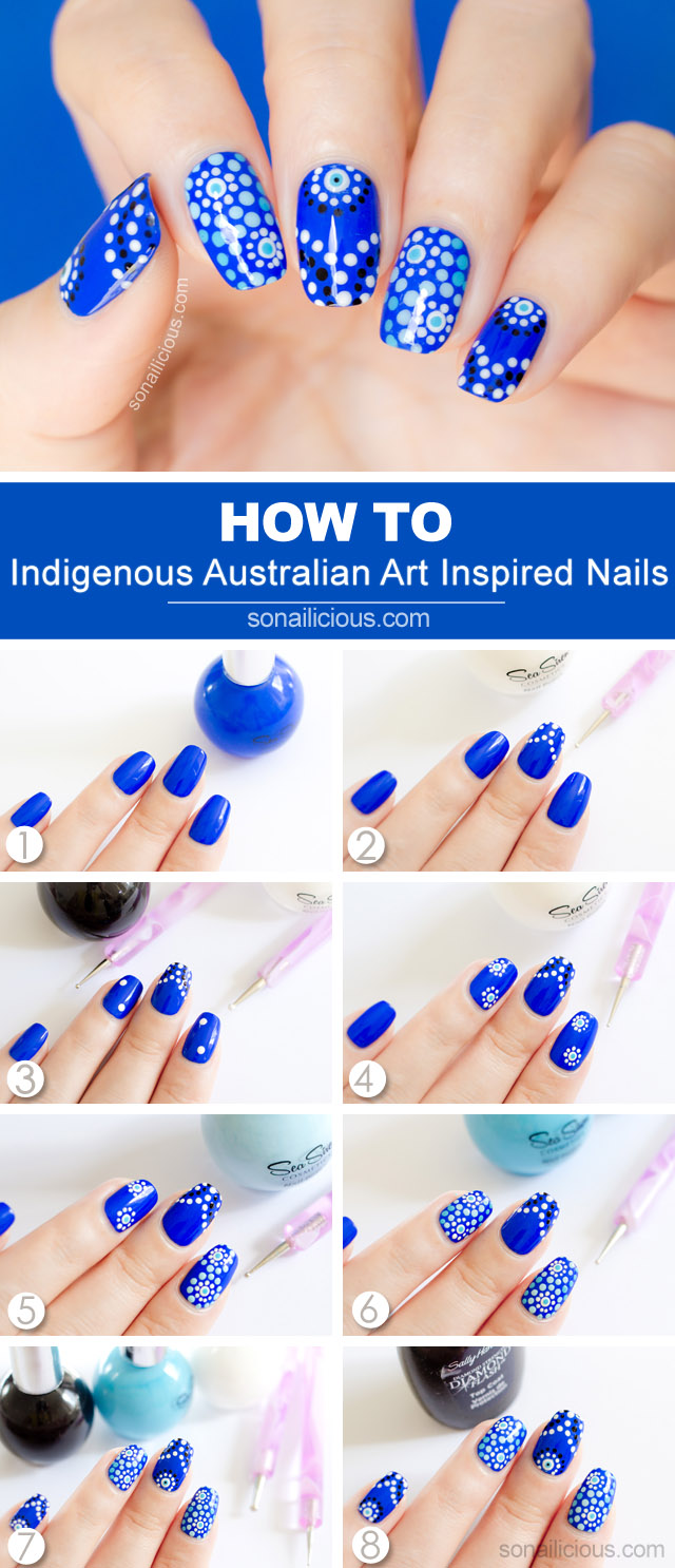 Aboriginal art australia day nail art tutorial