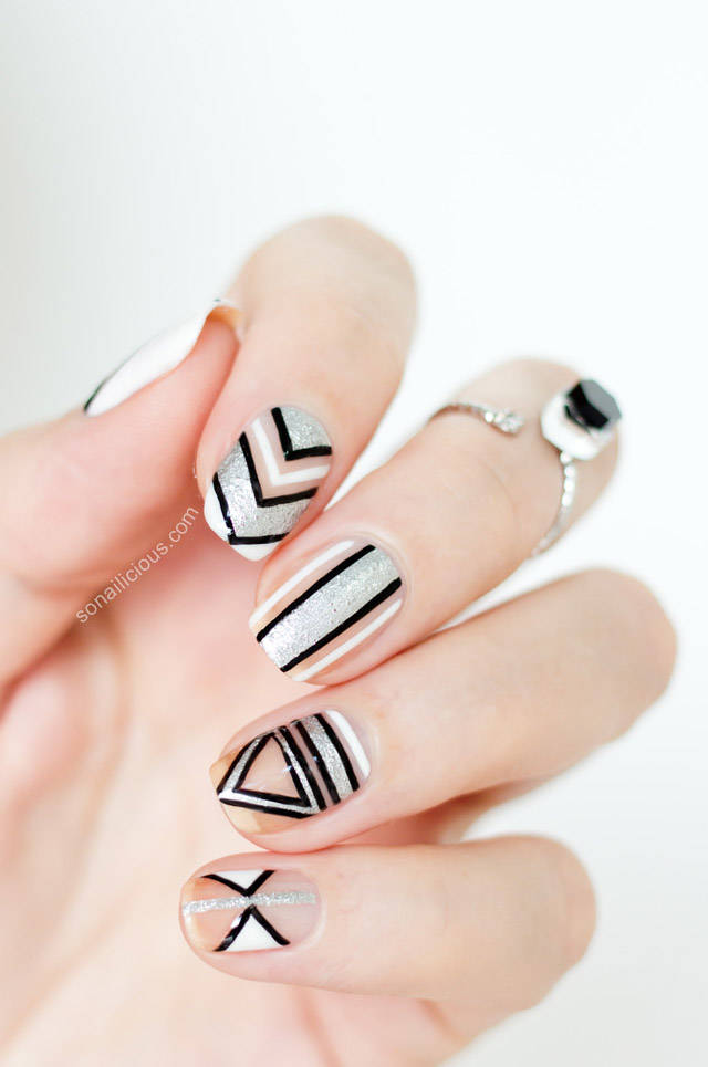 Negative Space New Year\'s Party Nails – 2014 Version