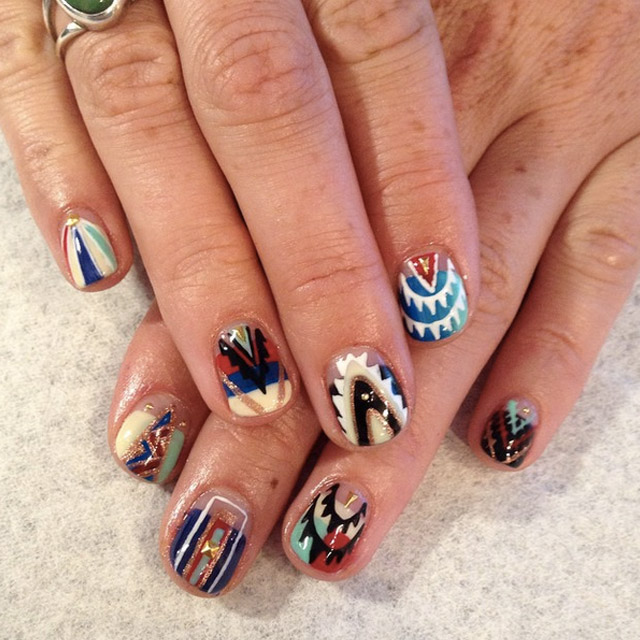 Aztec nails by Mia @superflynails