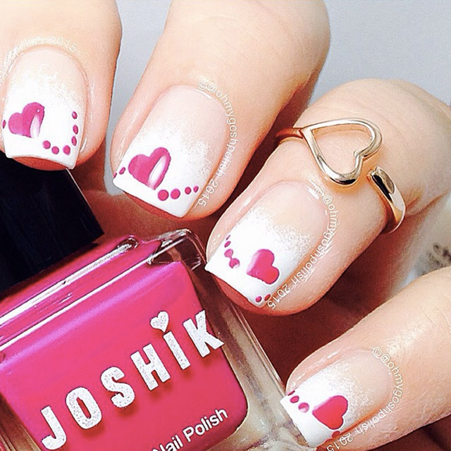 Love Heart nails by @ohmygoshpolish - SoNailicious