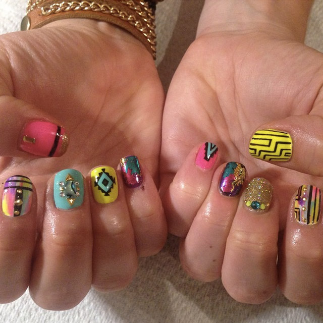 Neon Birthday nails by Mia @superflynails
