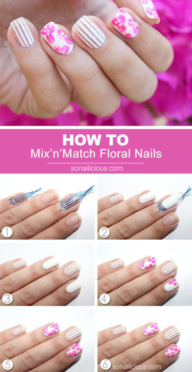 Pink Floral nail art tutorial