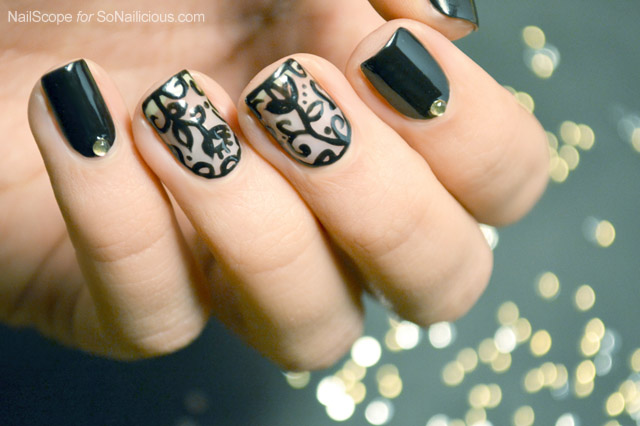 Black lace nail art tutorial prinsesfo Image collections