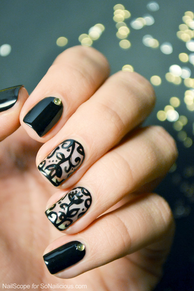Black lace nail art tutorial easy lace nail art prinsesfo Image collections