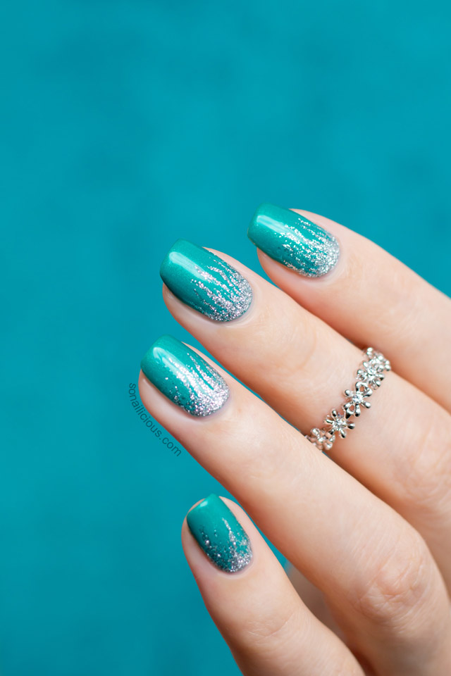 green and silver nail art