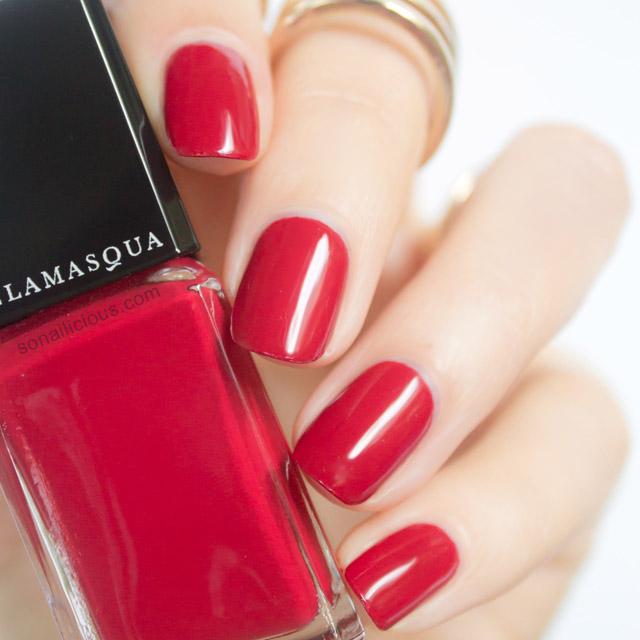 illamasqua throb red nail polish swatch