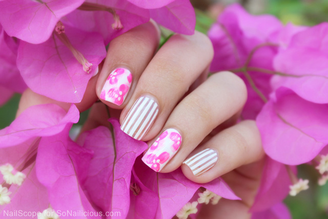 pink floral nail art how to