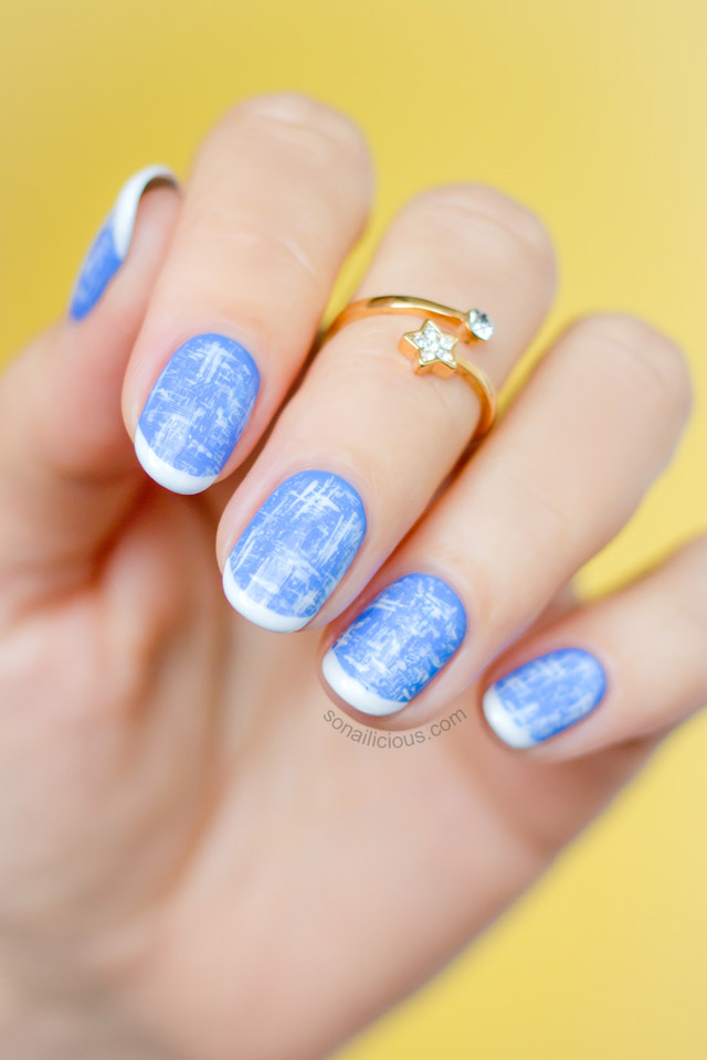 Blue tweed chanel nails
