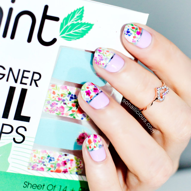 Floral spring nail art with Mint nail wraps