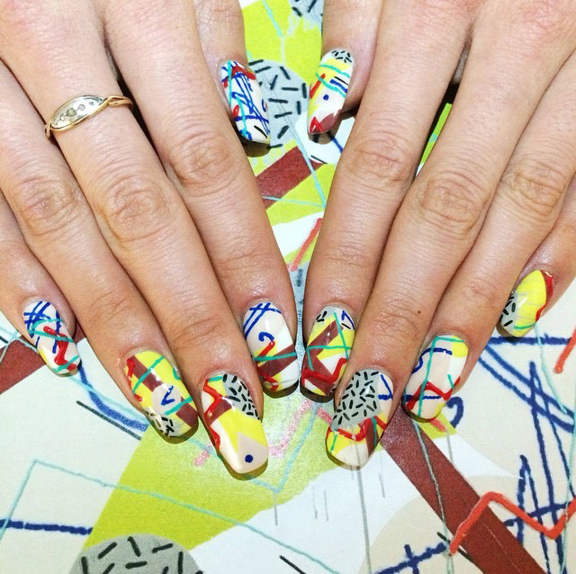 Geometric pattern nails by Mei