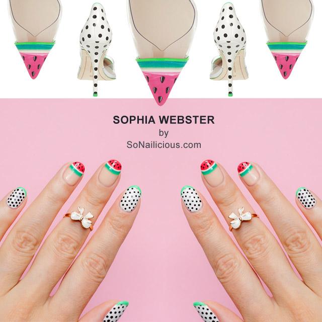 Sophia Webster Watermelon Nails by @SoNailicious - Sophia Webster Watermelon Nails |NAFW 2015, Day 2