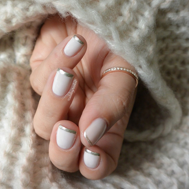 Thin French manicure by @NailsByArelisP - SoNailicious