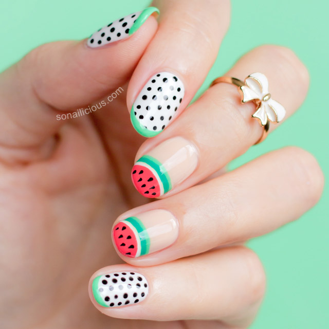Sophia webster watermelon nails nafw 2015 day 2 watermelon nail art by sonailicious prinsesfo Gallery