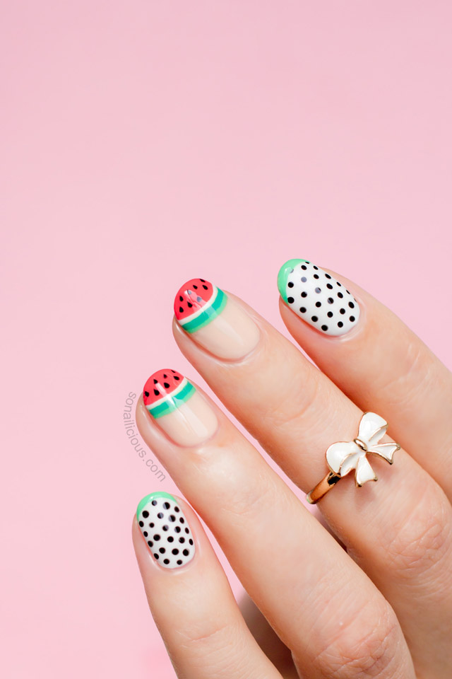 Watermelon Nails by @SoNailicious