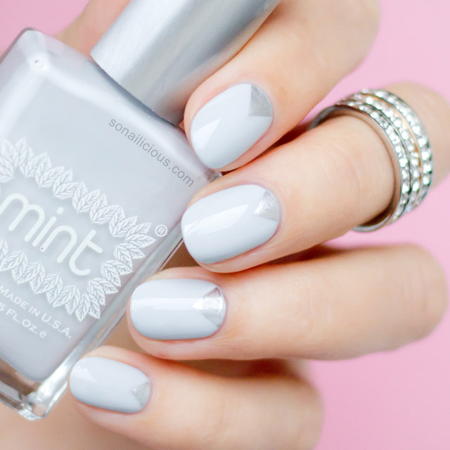 grey nails mint polish fancy swatch