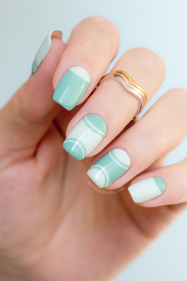 Outlined Half Moon Manicure –