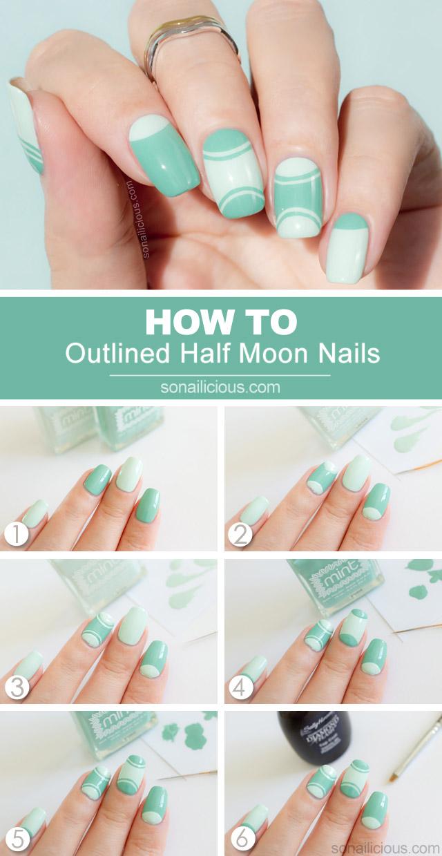 half moon manicure tutorial mint nails