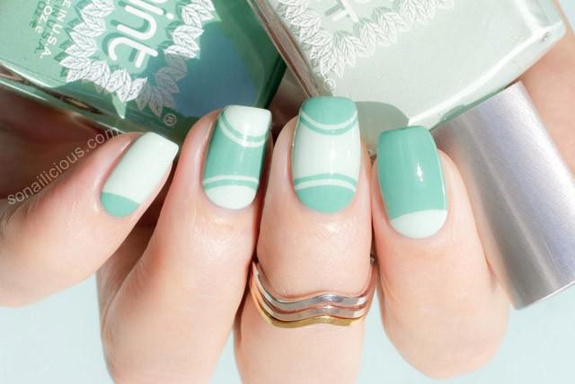 half moon manicure tutorial mint polish