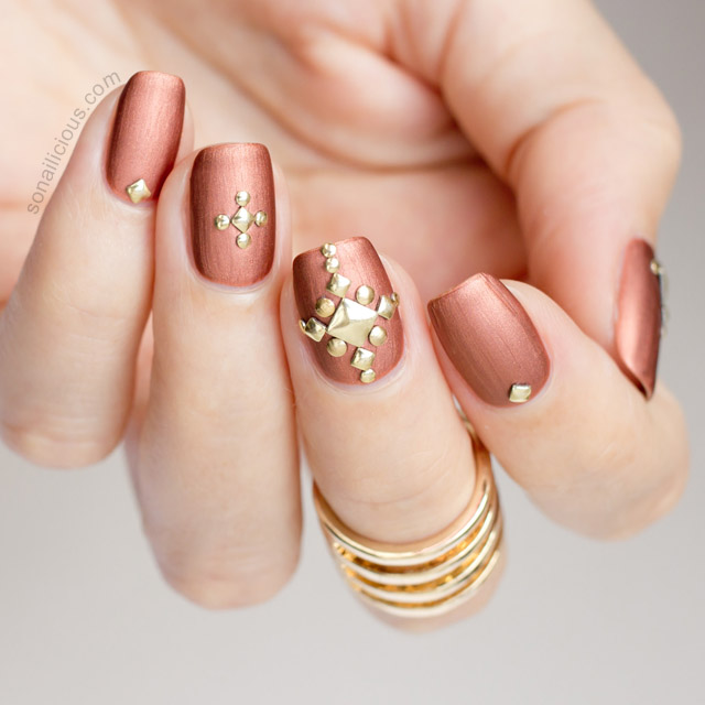 Matte Metallic Studded Nails