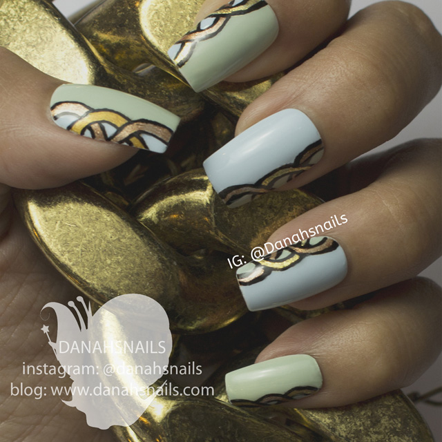 Chain pattern nails by Danah Alfares