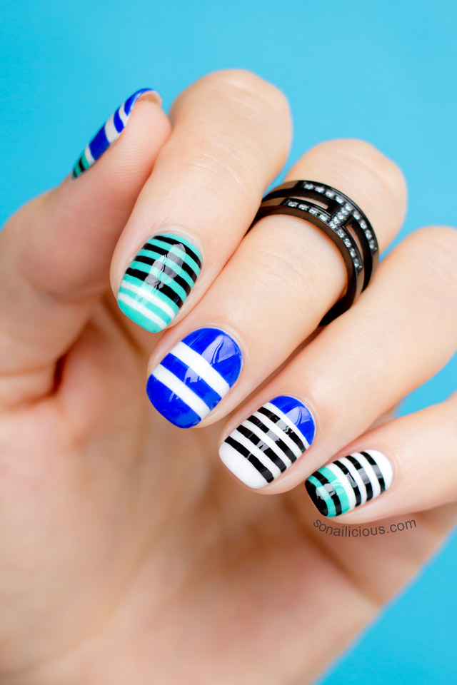 stripey nail art
