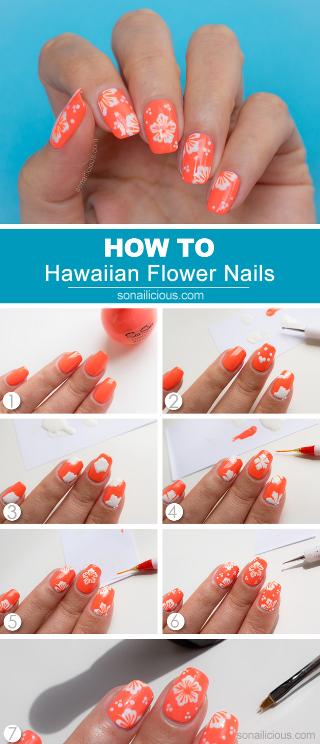 Hawaiian nail art tutorial - Hawaiian Flower Nail Art Tutorial